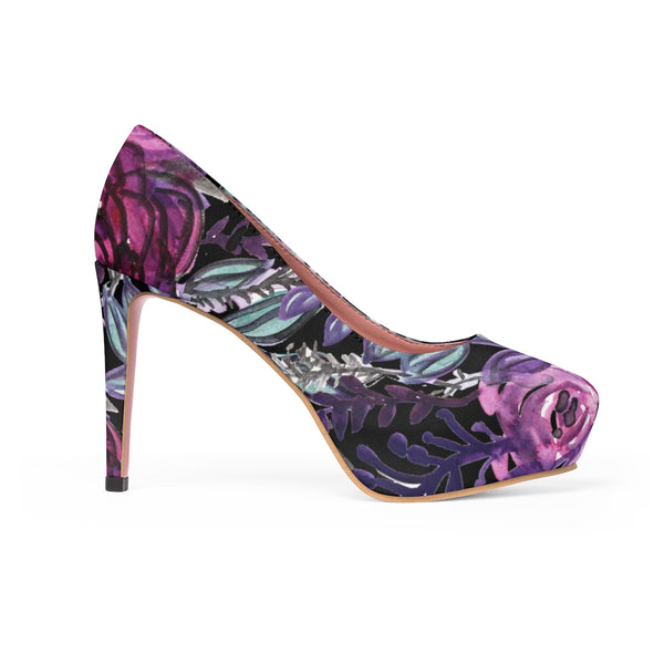 "Floral Language Purple Rose Cute Designer Women's 4"" Platform Heels (US Size: 5-11)-4 inch Heels-Heidi Kimura Art LLC"