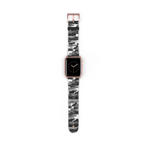 Gray & White Classic Camo Print 38mm/42mm Watch Band For Apple Watch- Made in USA-Watch Band-38 mm-Rose Gold Matte-Heidi Kimura Art LLC