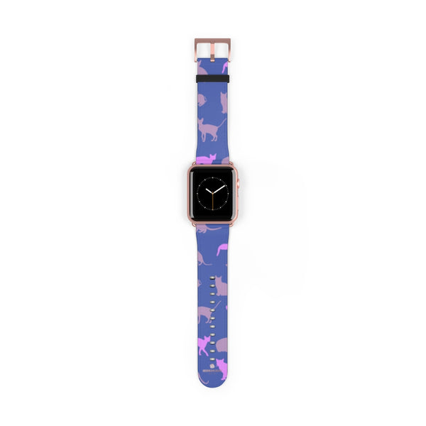 Purple Pink Cats Print 38mm/42mm Premium Watch Band For Apple Watch- Made in USA-Watch Band-42 mm-Rose Gold Matte-Heidi Kimura Art LLC