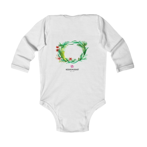 Fall Floral Print Baby's Infant Cotton Long Sleeve Bodysuit -Made in UK (UK Size: 6M-24M)-Kids clothes-Heidi Kimura Art LLC