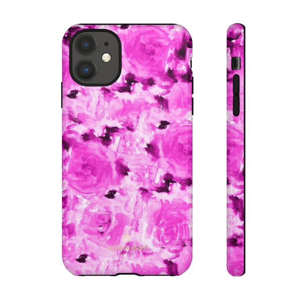 Hot Pink Floral Print Phone Case, Abstract Print Tough Cases, Designer Phone Case-Made in USA-Phone Case-Printify-iPhone 11-Glossy-Heidi Kimura Art LLC