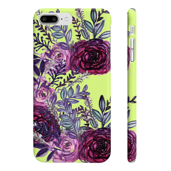 Yellow Slim iPhone/ Samsung Galaxy Floral Purple Rose iPhone or Samsung Case, Made in UK-Phone Case-iPhone 7 Plus, iPhone 8 Plus Slim-Glossy-Heidi Kimura Art LLC