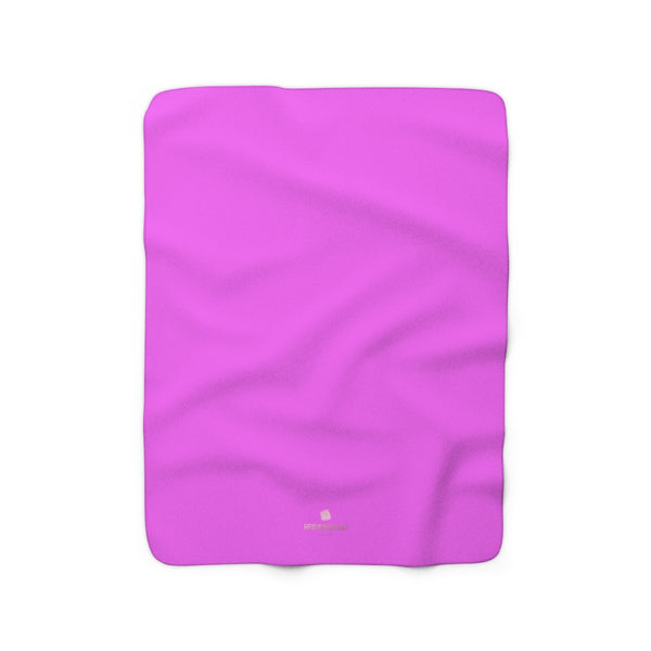 Hot Bright Pink Solid Color Print Designer Cozy Sherpa Fleece Blanket-Made in USA-Blanket-50'' x 60''-Heidi Kimura Art LLC