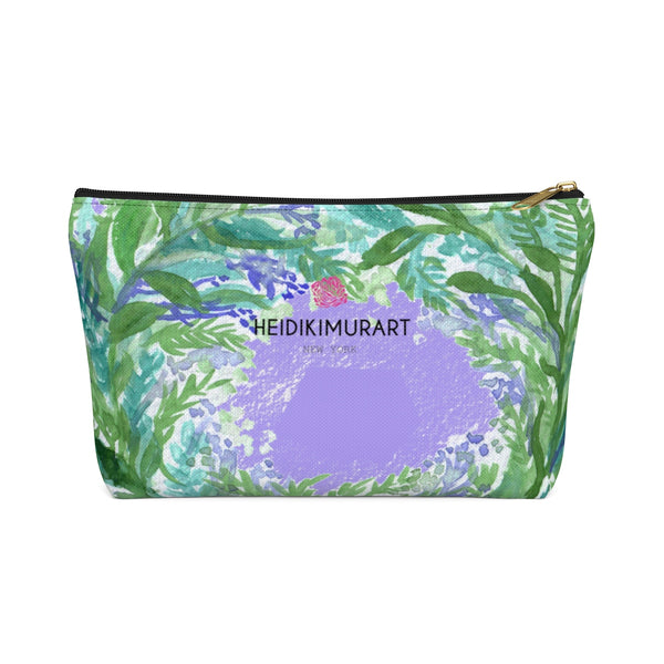 French Lavender Floral Print Accessory Pouch with T-bottom - Made in USA-Accessory Pouch-Black-Large-Heidi Kimura Art LLC