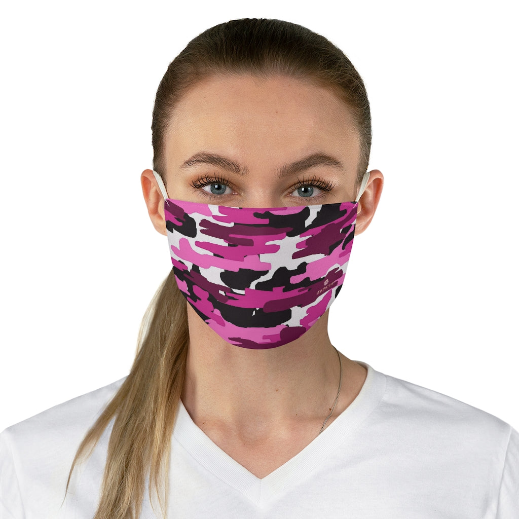 "Pink Camouflage Print Face Mask, Adult Military Style Modern Fabric Face Mask-Made in USA-Accessories-Printify-One size-Heidi Kimura Art LLC Pink Purple Camouflage Face Mask, Adult Camo Army Military Style Print Face Mask, Fashion Face Mask For Men/ Women, Designer Premium Quality Modern Polyester Fashion 7.25"" x 4.63"" Fabric Non-Medical Reusable Washable Chic One-Size Face Mask With 2 Layers For Adults With Elastic Loops-Made in USA"