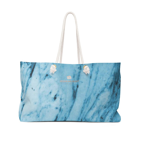 "Blue White Marble Print Designer 24""x13"" Designer Weekender Bag-Made in USA-Weekender Bag-24x13-Heidi Kimura Art LLC"