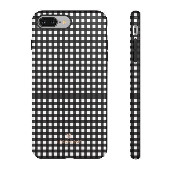 Buffalo Plaid Print Phone Case, Black White Tough Designer Phone Case -Made in USA-Phone Case-Printify-iPhone 8 Plus-Glossy-Heidi Kimura Art LLC