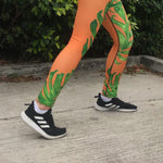 Orange Green Hawaiian Style Tropical Palm Leaf Men's Skinny Compression Tights Meggings, Men's Colorful Costume Leggings-Made in USA (US Size: XS-3XL)