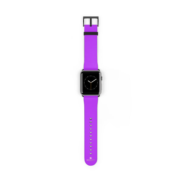Purple Solid Color Print 38mm/42mm Watch Band For Apple Watches- Made in USA-Watch Band-42 mm-Black Matte-Heidi Kimura Art LLC