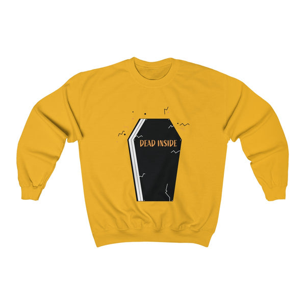 Dead Inside Coffin Halloween Party Unisex Premium Crewneck Sweatshirt-Made in USA-Long-sleeve-Gold-S-Heidi Kimura Art LLC