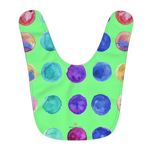 Green Cute Colorful Polka Dots Pattern Fleece Baby Bib - Designed and Made in USA-Kids clothes-One Size-Heidi Kimura Art LLC
