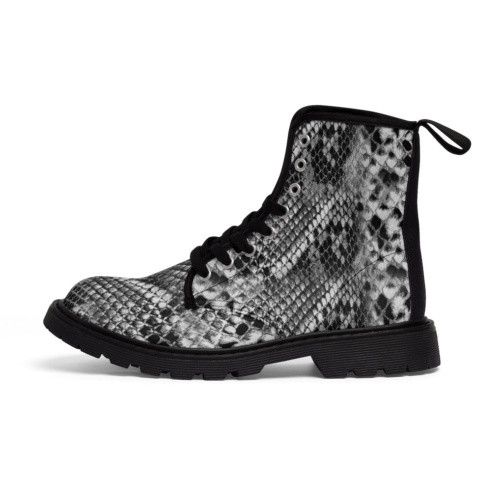 Grey Snake Men's Canvas Boots, Snake Animal Print Designer Winter Laced-up Boots For Men-Shoes-Printify-Black-US 9-Heidi Kimura Art LLC Grey Snakeskin Print Men's Boots, Snake Reptile Python Print Chic Animal Print Anti Heat + Moisture Designer Comfortable Stylish Men's Winter Hiking Boots Shoes For Men (US Size: 7-10.5)