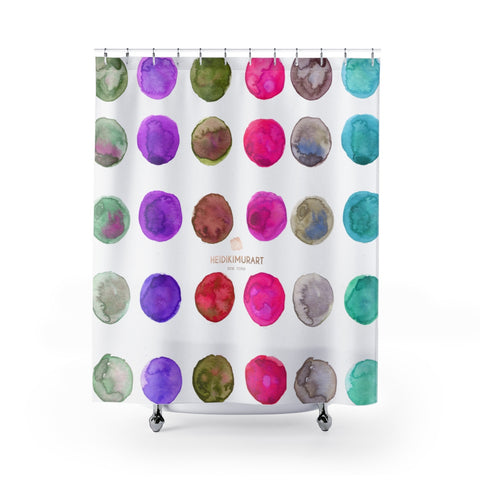 "Higashi Polka Dots Watercolor Print 71""x74"" Polyester Shower Curtains-Made in USA,Modern Curtain,Retro Bathroom Decor,Colorful Boho Curtain Higashi Polka Dots Watercolor Print 71""x74"" Polyester Shower Curtains- Made in USA"