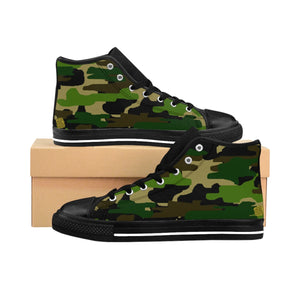 Military Army Green Camouflage Print Women's High Top Sneakers Running Shoes (US Size: 6-12)-Women's High Top Sneakers-Black-US 9-Heidi Kimura Art LLC Green Camo Women's Sneakers, Military Army Green Camouflage Print Women's High Top Sneakers, Athletic Classic Running Shoes (US Size: 6-12)