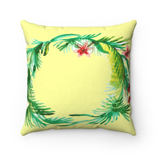 Cute Red and Yellow Floral Wreath Spun Polyester Square Pillow - Made in USA-Pillow-Heidi Kimura Art LLC