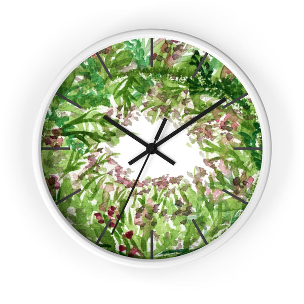 Purple French Lavender Floral Print 10 inch Diameter Wall Clock - Made in USA-Wall Clock-White-Black-Heidi Kimura Art LLC