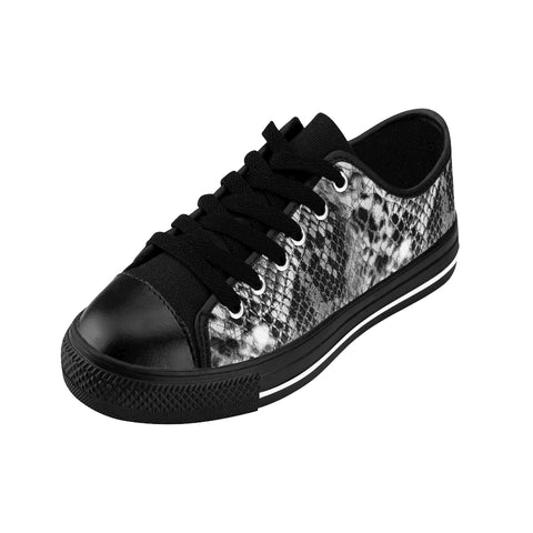 Black Snake Print Men's Sneakers, Designer Snake Animal Print Low Top Shoes For Men-Shoes-Printify-Black-US 9-Heidi Kimura Art LLC Black Snakeskin Print Men's Sneakers, Python Designer Snake Animal Print Best Premium Quality Designer Luxury Men's Low Top Nylon Canvas Sneakers (US Size: 7-14) Men Snake Sneakers, Men's Snake-Print Low Top Sneakers Running Tennis Shoes