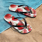 Poppy Bright Red Poppy Flowers Girlie Floral Print Unisex Flip-Flops - Made in USA (US Size: S, M, L)