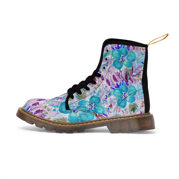Blue Floral Women's Canvas Boots-Shoes-Printify-Heidi Kimura Art LLCBlue Floral Women's Canvas Boots, Flower Rose Print Ladies Fashion Lace-Up Hiking Boots, Best Ladies' Combat Boots, Designer Women's Winter Lace-up Toe Cap Hiking Boots Shoes For Women (US Size 6.5-11)