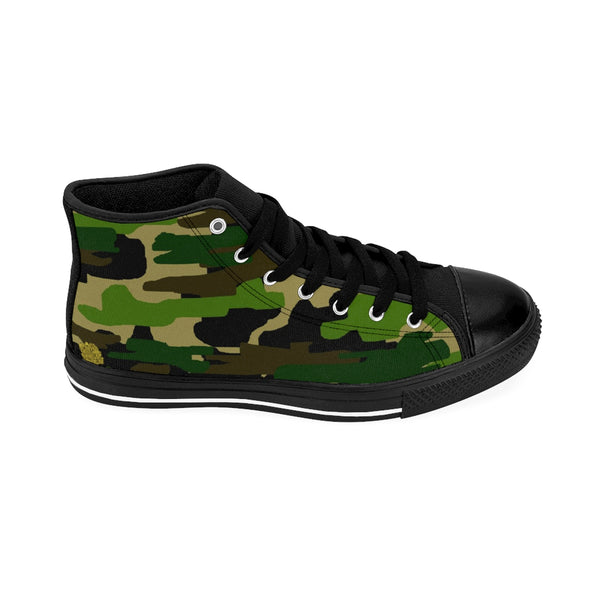 Camouflage Green Military Army Print Pattern Men's High Top Sneakers (US Size 6-14)-Men's High Top Sneakers-Heidi Kimura Art LLC