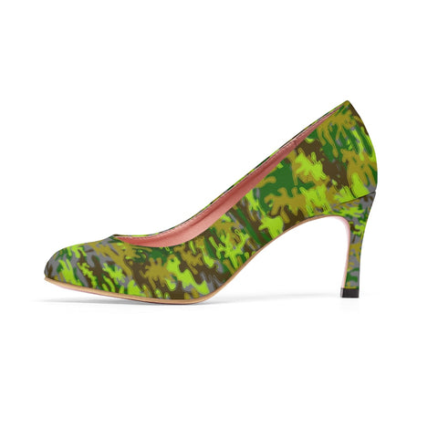 Gray Green White Camo Military Army Print Premium Women's High Heels Shoes-Shoes-Heidi Kimura Art LLCGray Green Camo Heels, White Camo Military Army Print Designer 3 inch Durable Women's High Heels Shoes (US Size: 5-11)