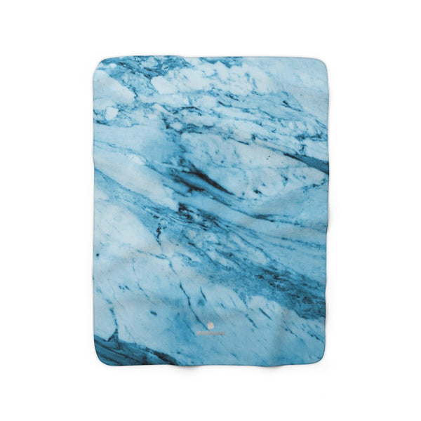 Modern Blue Marble Abstract Print Designer Cozy Sherpa Fleece Blanket-Made in USA-Blanket-50'' x 60''-Heidi Kimura Art LLC