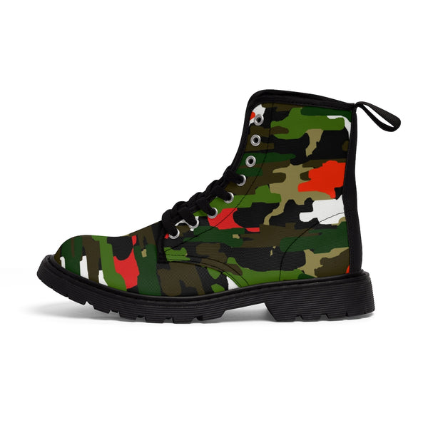 Green Red Camouflage Military Army Print Men's Canvas Winter Laced Up Boots-Men's Boots-Heidi Kimura Art LLC