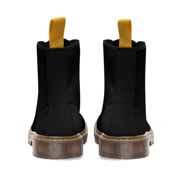 Women's Black Canvas Boots, Solid Color Modern Essential Winter Boots For Ladies-Shoes-Printify-Heidi Kimura Art LLC