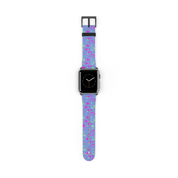 Light Violet Purple Pink Hearts 38mm/42mm Watch Band For Apple Watch- Made in USA-Watch Band-38 mm-Black Matte-Heidi Kimura Art LLC