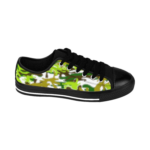 White Green Camouflage Military Print Premium Men's Low Top Canvas Sneakers Shoes-Men's Low Top Sneakers-Heidi Kimura Art LLC