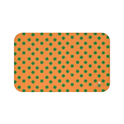 Orange Green Clover Print St. Patrick's Day Bathroom Microfiber Bath Mat- Printed in USA-Bath Mat-Large 34x21-Heidi Kimura Art LLC