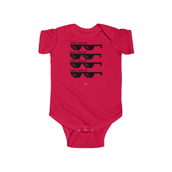 Deal With It Funny Infant Fine Jersey Regular Fit Unisex Cute Cotton Bodysuit - Made in UK-Infant Short Sleeve Bodysuit-Red-NB-Heidi Kimura Art LLC