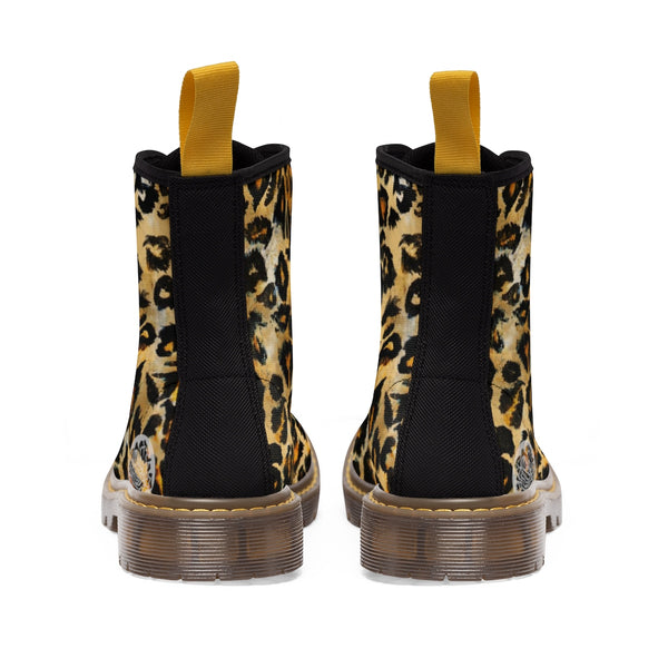 Snow Leopard Animal Print Designer Men's Lace-Up Boots Cap Toe Men's Shoes-Men's Winter Boots-Heidi Kimura Art LLC
