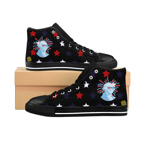 Yuta Independence Day July 4th Men's Black High-top Sneakers (US Size: 6-14)USA Red White Blue 4th of July Sneakers, Men's Black July Shoes Yuta Independence Day July 4th Men's Black High-Top Sneakers (US Size: 6-14)