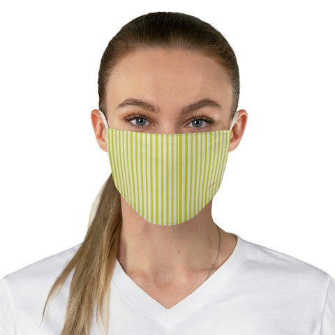 "Yellow Striped Face Mask, Designer Vertically Stripes Fashion Face Mask For Men/ Women, Designer Premium Quality Modern Polyester Fashion 7.25"" x 4.63"" Fabric Non-Medical Reusable Washable Chic One-Size Face Mask With 2 Layers For Adults With Elastic Loops-Made in USA"