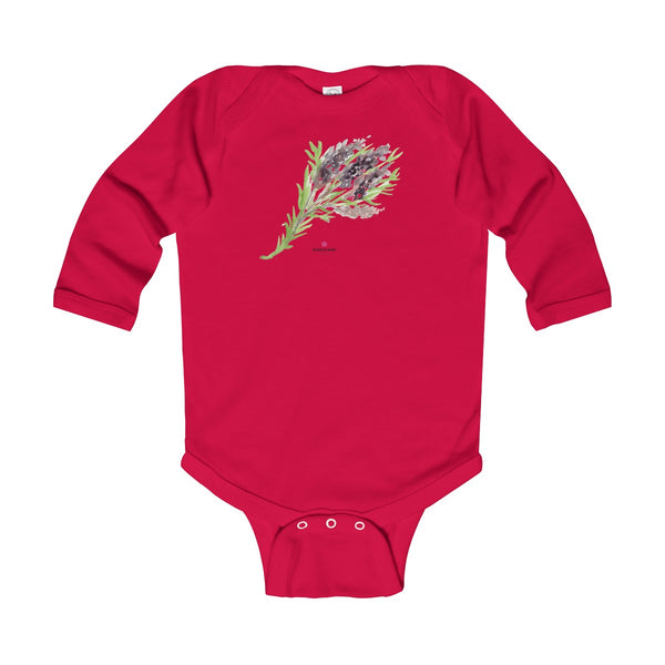 Purple French Lavender Floral Print Infant Long Sleeve Bodysuit - Made in UK-Kids clothes-Red-12M-Heidi Kimura Art LLC