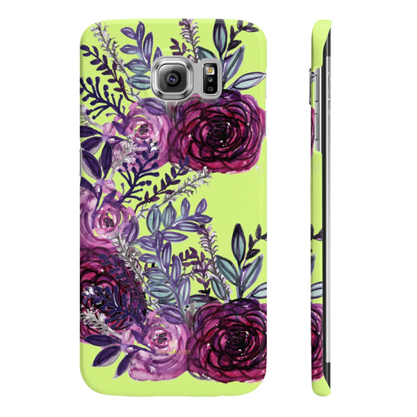 Yellow Slim iPhone/ Samsung Galaxy Floral Purple Rose iPhone or Samsung Case, Made in UK-Phone Case-Samsung Galaxy S6 Slim-Glossy-Heidi Kimura Art LLC