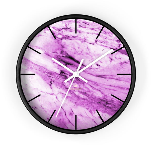 "Pink White Marble Print Art Large Indoor 10"" diameter Designer Wall Clock-Made in USA-Wall Clock-10 in-Black-White-Heidi Kimura Art LLC"