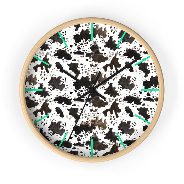Cow Print Designer 10 in. Dia. Indoor Nursery Kitchen Wall Clock- Made in USA-Wall Clock-10 in-Wooden-Black-Heidi Kimura Art LLC