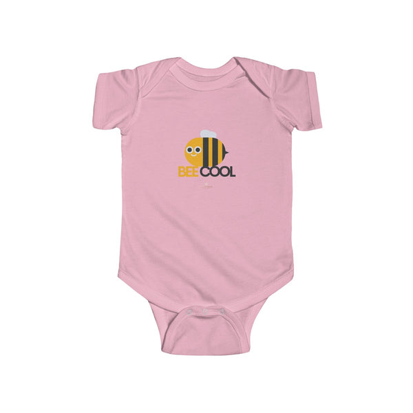 Bee Cotton Kids Bodysuit, Cool Infant Fine Jersey Regular Fit Unisex Clothes - Made in UK-Infant Short Sleeve Bodysuit-Pink-NB-Heidi Kimura Art LLC