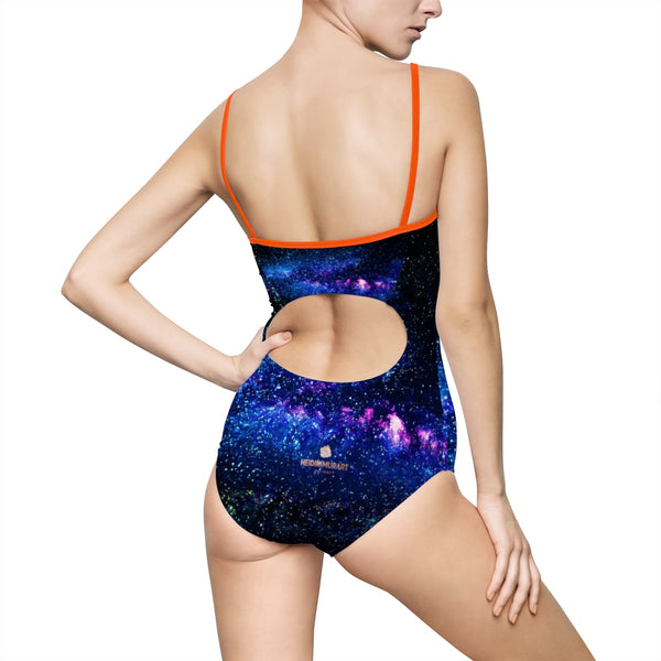 Blue Abstract Universe Galaxy Print Women's One-piece Swimsuit Swimwear (US Size: XS-3XL)-One-piece swimwear-Heidi Kimura Art LLC