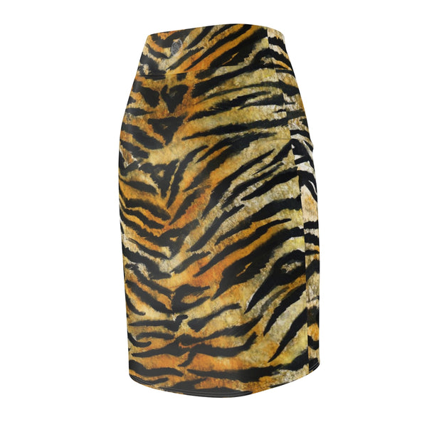 Tiger Striped Print Women's Pencil Skirt, Orange Brown Animal Print Pencil Skirt -Made in USA-Pencil Skirt-Heidi Kimura Art LLC