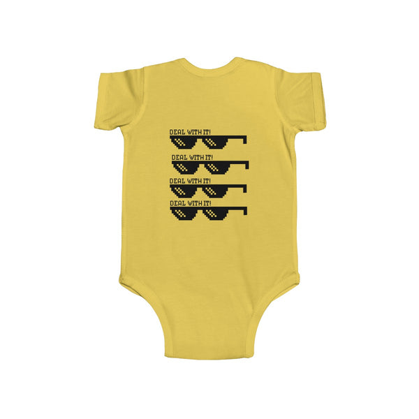 Deal With It Funny Infant Fine Jersey Regular Fit Unisex Cute Cotton Bodysuit - Made in UK-Infant Short Sleeve Bodysuit-Heidi Kimura Art LLC