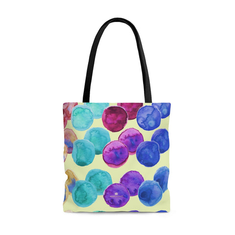 Light Yellow Colorful Polka Dots Designer Print Every Day Tote Bag - Made in USA-Tote Bag-Large-Heidi Kimura Art LLC