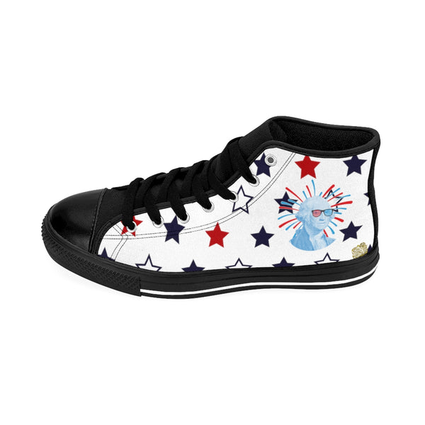 Patriotic Independence Day July 4th Men's White High-Top Sneakers (US Size: 6-14)-Men's High Top Sneakers-Heidi Kimura Art LLC
