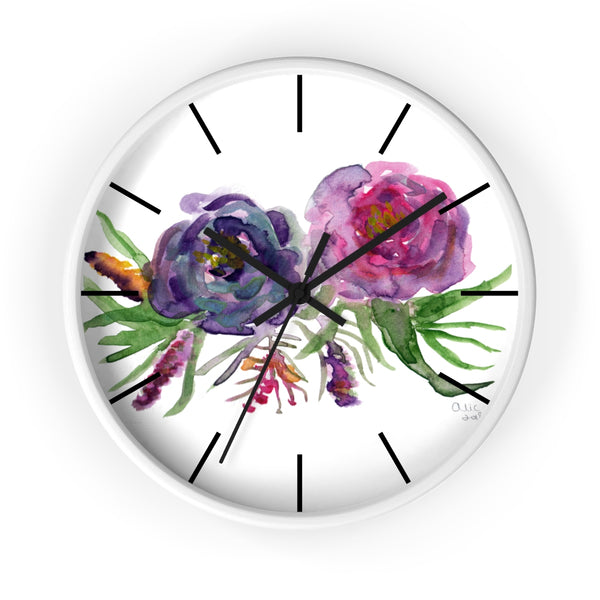 Purple Garden Fairy Rose Floral Rose 10 inch Diameter Wall Clock - Made in USA-Wall Clock-White-Black-Heidi Kimura Art LLC Purple Floral Wall Clock, Purple Garden Fairy Rose Floral Rose 10 inch Diameter Wall Clock - Made in USA