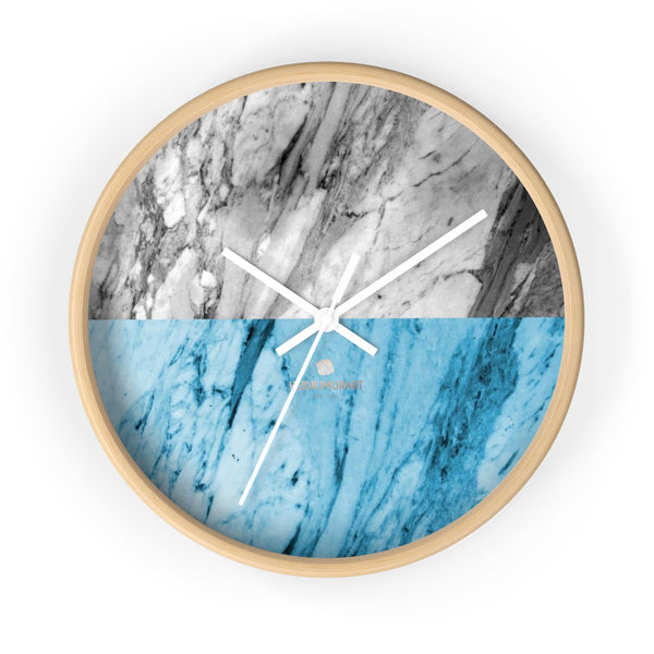 "Gray Blue White Marble Print Art Large Indoor Designer 10"" dia. Wall Clock-Made in USA-Wall Clock-10 in-Wooden-White-Heidi Kimura Art LLC"