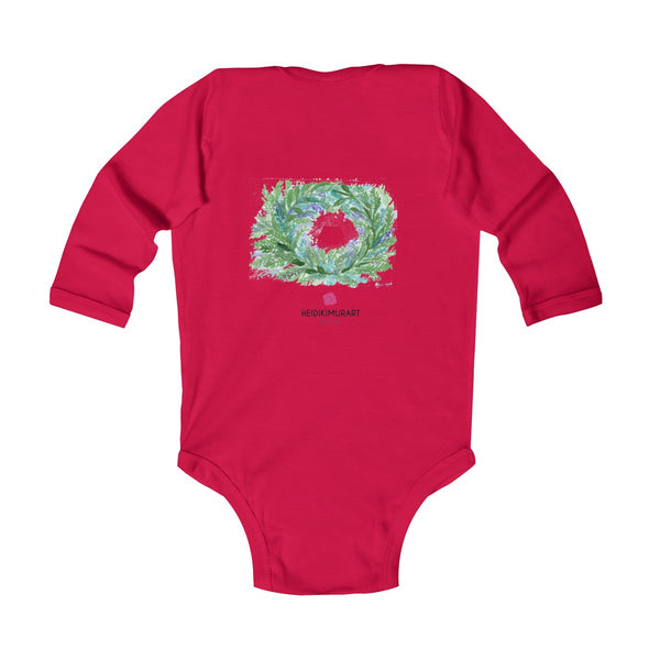 French Lavender Floral Print Baby's Infant Long Sleeve Bodysuit - Made in UK-Kids clothes-Heidi Kimura Art LLC
