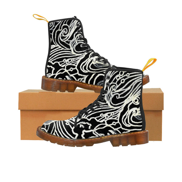 Black Japanese Curvy Waves Pattern Designer Women's Winter Lace-up Toe Cap Boots-Women's Boots-Brown-US 10-Heidi Kimura Art LLC