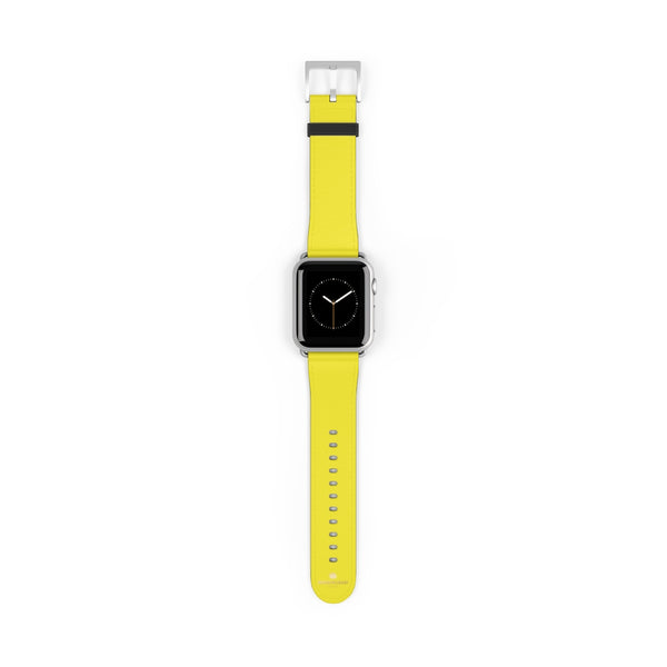Yellow Solid Color 38mm/42mm Watch Band Strap For Apple Watches- Made in USA-Watch Band-38 mm-Silver Matte-Heidi Kimura Art LLC
